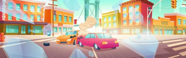 Wypadek samochodowy na skrzyżowaniu ulicy miasta. ilustracja kreskówka wektor auto crash. pejzaż miejski z budynkami, drogą, uszkodzonymi pojazdami po kolizji i odłamkami szkła