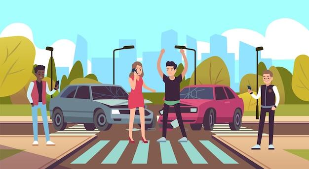 Wypadek samochodowy. uszkodzony pojazd na skrzyżowaniu, awaria samochodu na skrzyżowaniu kolizja samochodów na drodze, męska postać zła kobieta dzwoniąca na telefon, kierowcy stojący w pobliżu samochodów ilustracja kreskówka płaska