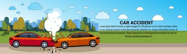 Wypadek samochodowy wypadek na drodze kolizji pojazdu pojazd szablon poziomy baner
