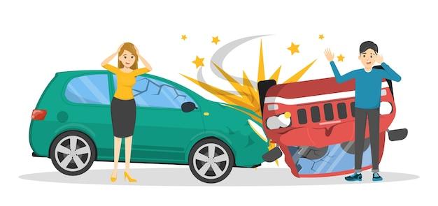 Wypadek samochodowy. zepsuty samochód na drodze, sytuacja awaryjna. ludzie w panice patrząc na zepsute auto. ilustracja