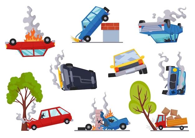 Wypadki drogowe uszkodzone samochody. ikony wypadku drogowego z symbolami wypadku samochodowego płaskie na białym tle. ubezpieczenie uszkodzonego pojazdu. uszkodzone auta. potrzebujesz naprawy lub nie można jej odzyskać.