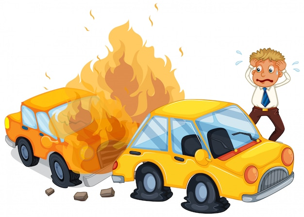 Wypadkowy samochód w ogniu