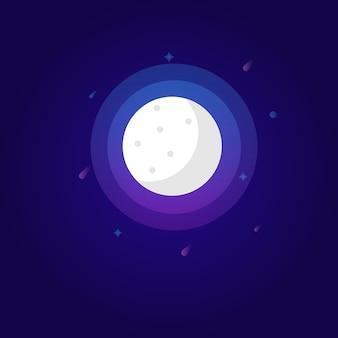 Wypełniaj księżyca z kolorowymi okręgami i gwiazdami fantasy art