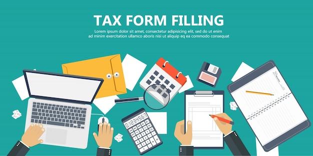 Wypełnienie Formularza Podatkowego Premium Wektorów