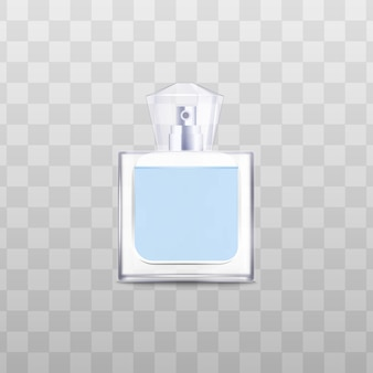 Wypełniona płynem szklana lub plastikowa butelka z zakrętką na perfumy, szablon realistycznej ilustracji wektorowych na przezroczystej powierzchni