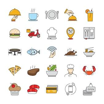Wypełnione ikony konspektu restauracji i żywności