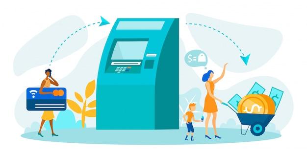 Wypłata pieniędzy za pośrednictwem bankomatu metafora kreskówka wektor