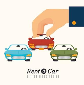 Wypożycz samochód projekt, ilustracji wektorowych.