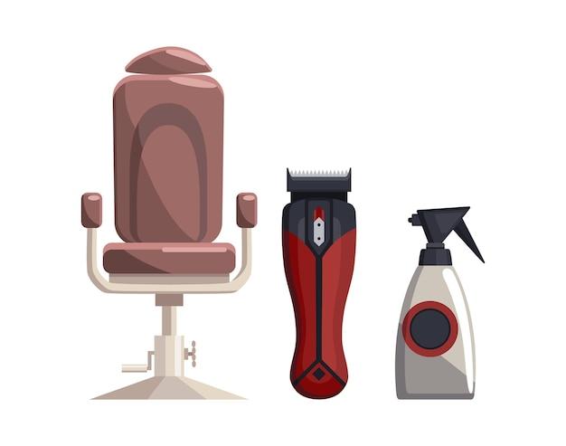 Wyposażenie dla zakładów fryzjerskich. elementy zestawu vintage barber shop. opryskiwacz do przycinania krzeseł. elementy projektu salon fryzury.