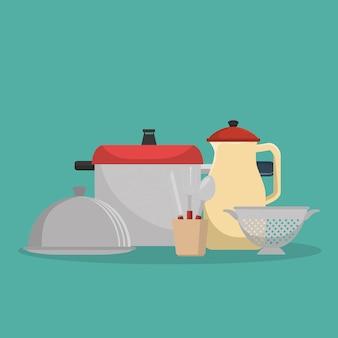 Wyposażenie kuchni zestaw ikon