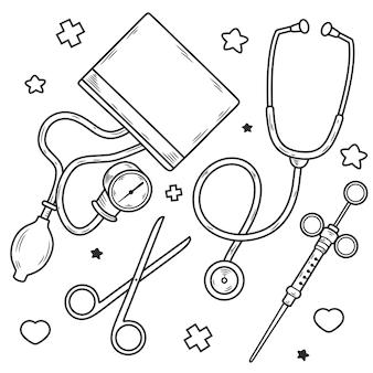 Wyposażenie lekarza. ilustracja narzędzia, na białym tle