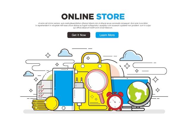 Wyposażenie sklepu internetowego w stylu sztuki linii