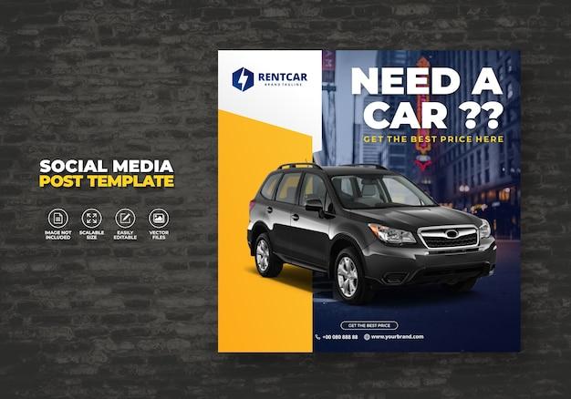 Wypożycz samochód dla social media post banner nowoczesny wzór promocji za darmo
