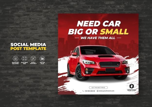 Wypożycz samochód dla social media post nowoczesny szablon bannera