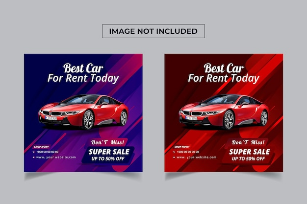 Wypożycz samochód na szablon banera postów w mediach społecznościowych