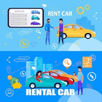 Wypożycz usługę samochodów online za pomocą banera tabletu