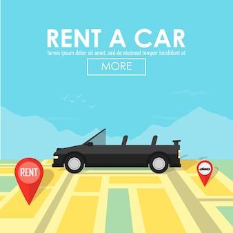 Wypożycz wskaźnik pinezki samochodu na miejscu na mapie