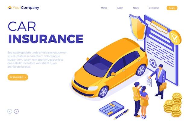 Wypożyczalnia samochodów izometryczny do lądowania, reklama z samochodem
