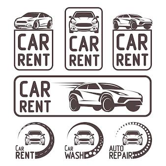 Wypożyczalnia samochodów logo szablon projektu ilustracji wektorowych