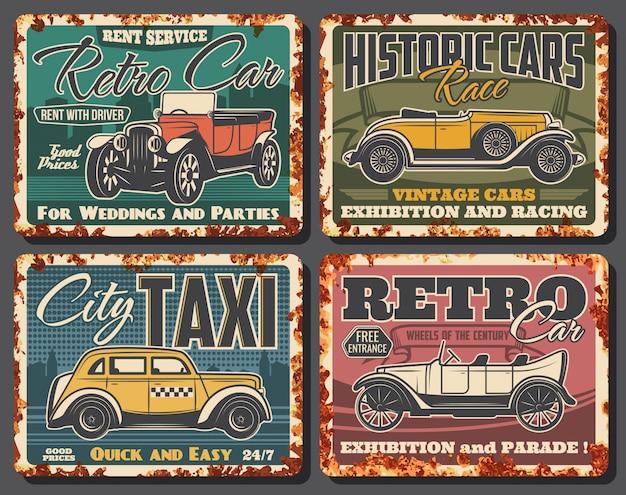 Wypożyczalnia samochodów retro, zardzewiała płyta taksówki