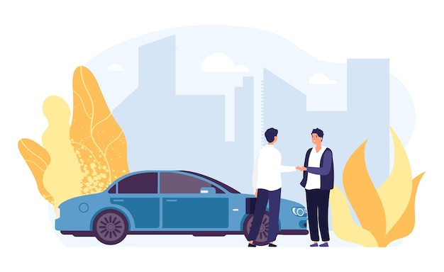 Wypożyczyć samochód. carsharing, ilustracja agencji wynajmu samochodów. płaskie postacie męskie, auto wektor, krajobraz miasta. wynajem samochodów transportowych, usługi transportowe u dealerów