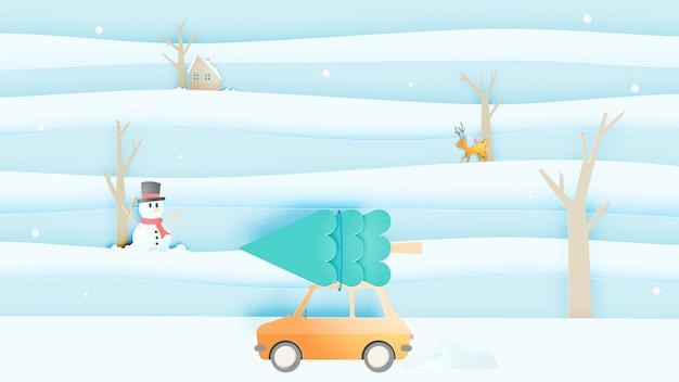 Wyprawa samochodowa i zimowy pejzaż z papierowym stylem i pastelową kolorystyką