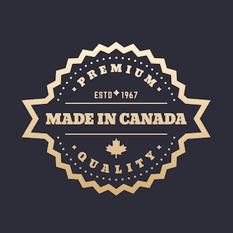 Wyprodukowano w kanadzie znaczek, złota etykieta