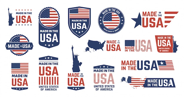 Wyprodukowano w usa odznaki. patriot dumny znaczek etykiety, flaga amerykańska i symbole narodowe, zestaw patriotycznych emblematów stanów zjednoczonych. amerykańskie naklejki na produkty, narodowe odznaki z okazji dnia niepodległości
