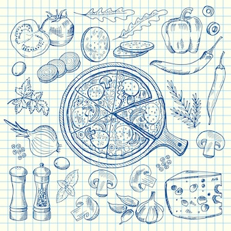 Wyprofilowane składniki włoskiej pizzy na arkuszu komórki.