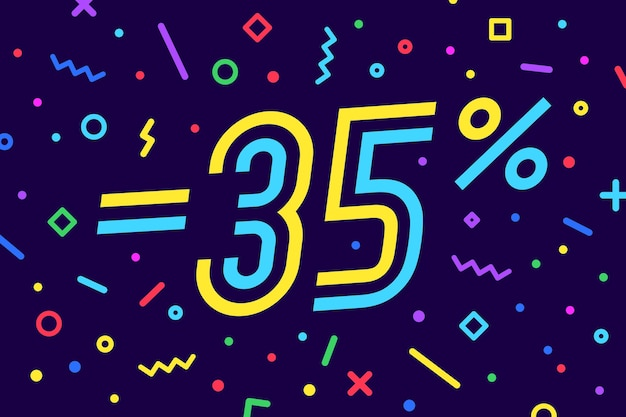 Wyprzedaż -35 proc. baner na rabat, sprzedaż. projekt plakatu, ulotki i banera w geometrycznym stylu memphis z tekstem -35 proc