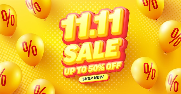Wyprzedaż 50% zniżki na projekt plakatu lub ulotki dla handlu detalicznego, zakupów lub promocji w żółto-czerwonym stylu