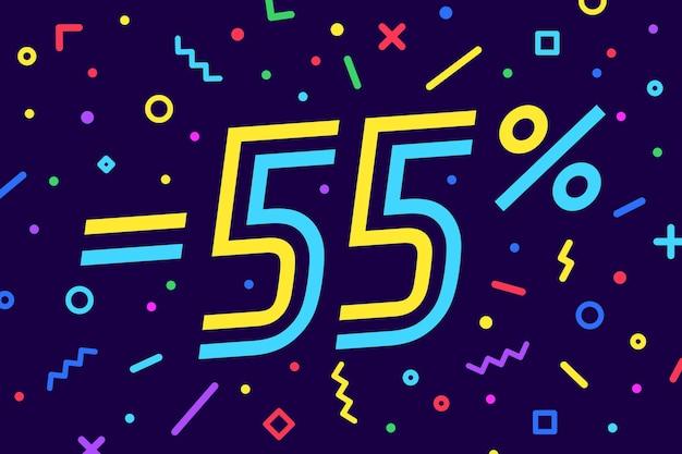 Wyprzedaż -55 proc. baner na rabat, sprzedaż. projekt plakatu, ulotki i banera w geometrycznym stylu memphis z tekstem -55 proc.