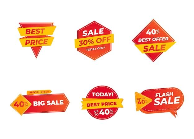 Wyprzedaż banerów i etykiet z cenami, karty sprzedaży i naklejki rabatowe.