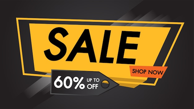 Wyprzedaż banner czarne tło do 60% zniżki na zakupy już teraz.
