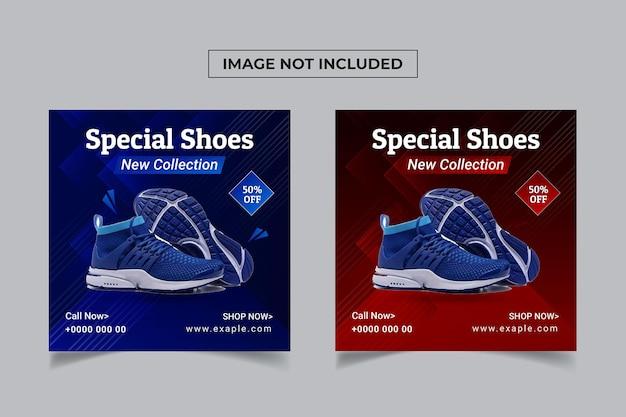 Wyprzedaż butów w mediach społecznościowych szablon