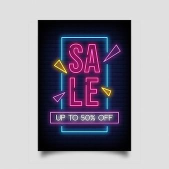 Wyprzedaż do 50% zniżki na pionowy baner w stylu neon.