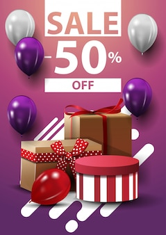 Wyprzedaż, do 50% zniżki, pionowy baner internetowy z balonami i prezentami