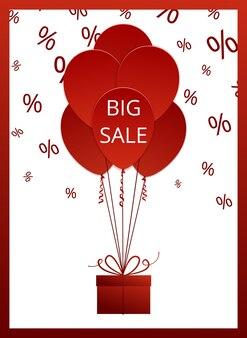 Wyprzedaż duży plakat z czerwonymi balonami i pudełkiem. ilustracja wektorowa z izolowanymi elementami projektu