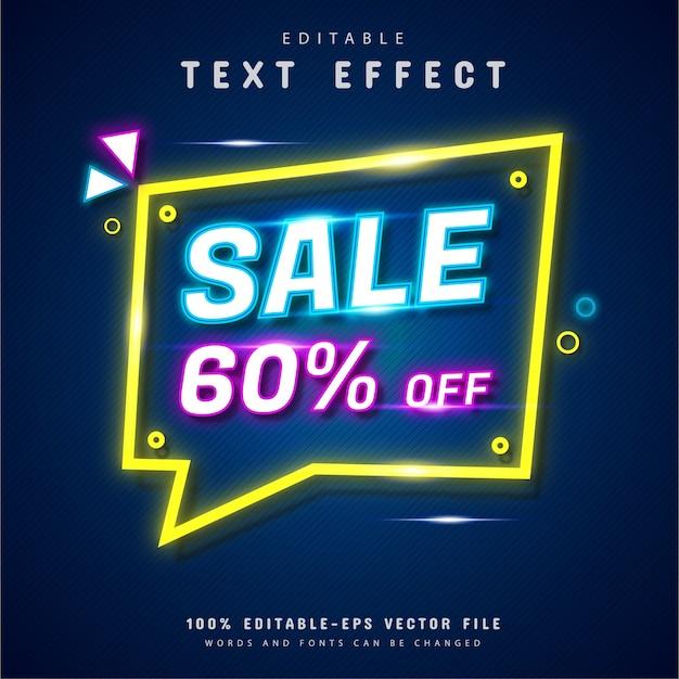 Wyprzedaż efekt tekstowy w stylu neonowym
