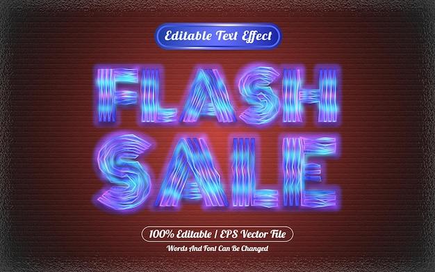 Wyprzedaż flash z edytowalnym efektem tekstowym z motywem świetlnym