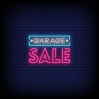 Wyprzedaż garażowa neon znaki w stylu tekstu