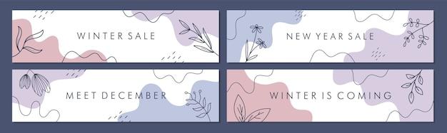 Wyprzedaż kolekcji szablonów banerów do promocji sprzedaży z koncepcją zimową.