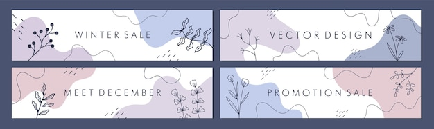 Wyprzedaż kolekcji szablonów banerów do promocji sprzedaży z koncepcją zimową