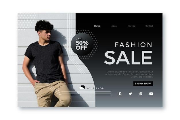 Wyprzedaż mody - koncepcja strony docelowej
