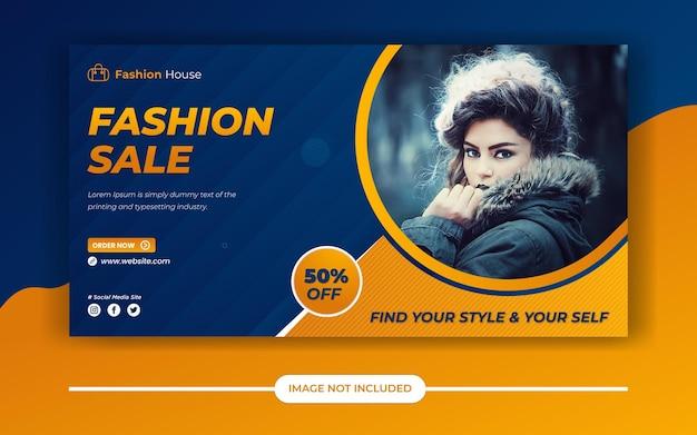 Wyprzedaż mody oferuje post w mediach społecznościowych lub baner reklamowy na facebooku lub baner internetowy