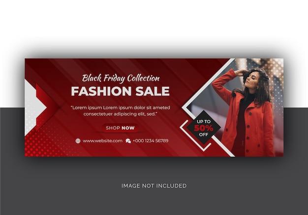 Wyprzedaż mody w czarny piątek w mediach społecznościowych na facebooku