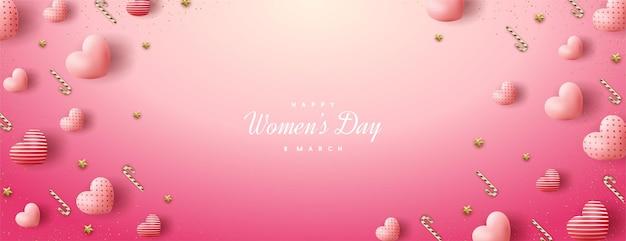 Wyprzedaż na dzień kobiet z różowymi balonami miłosnymi 3d.