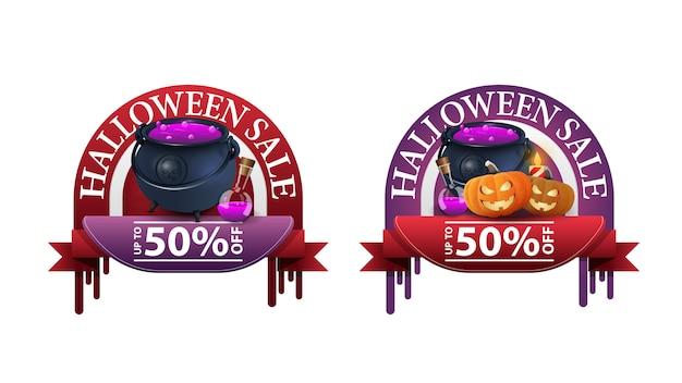 Wyprzedaż na halloween, -50% zniżki, dwa okrągłe banery rabatowe z garnkiem czarownicy i dyniowym jackiem