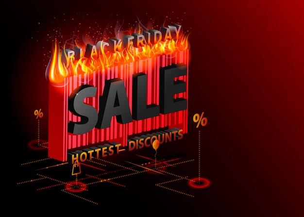 Wyprzedaż napis reklamowy z ognistym banerem izometrycznym black friday very hot concept