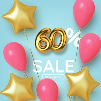 Wyprzedaż promocyjna 60 rabatu wykonana z realistycznej złotej liczby 3d z balonami i gwiazdami. numer w postaci złotych balonów.
